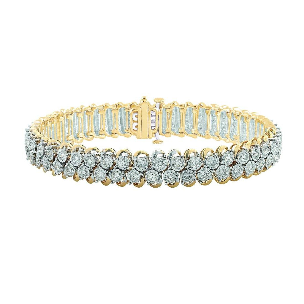 Meera Swirl Bracelet with 5.00ct of Laboratory Grown Diamonds in 9ct Yellow Gold Bracelets Bevilles