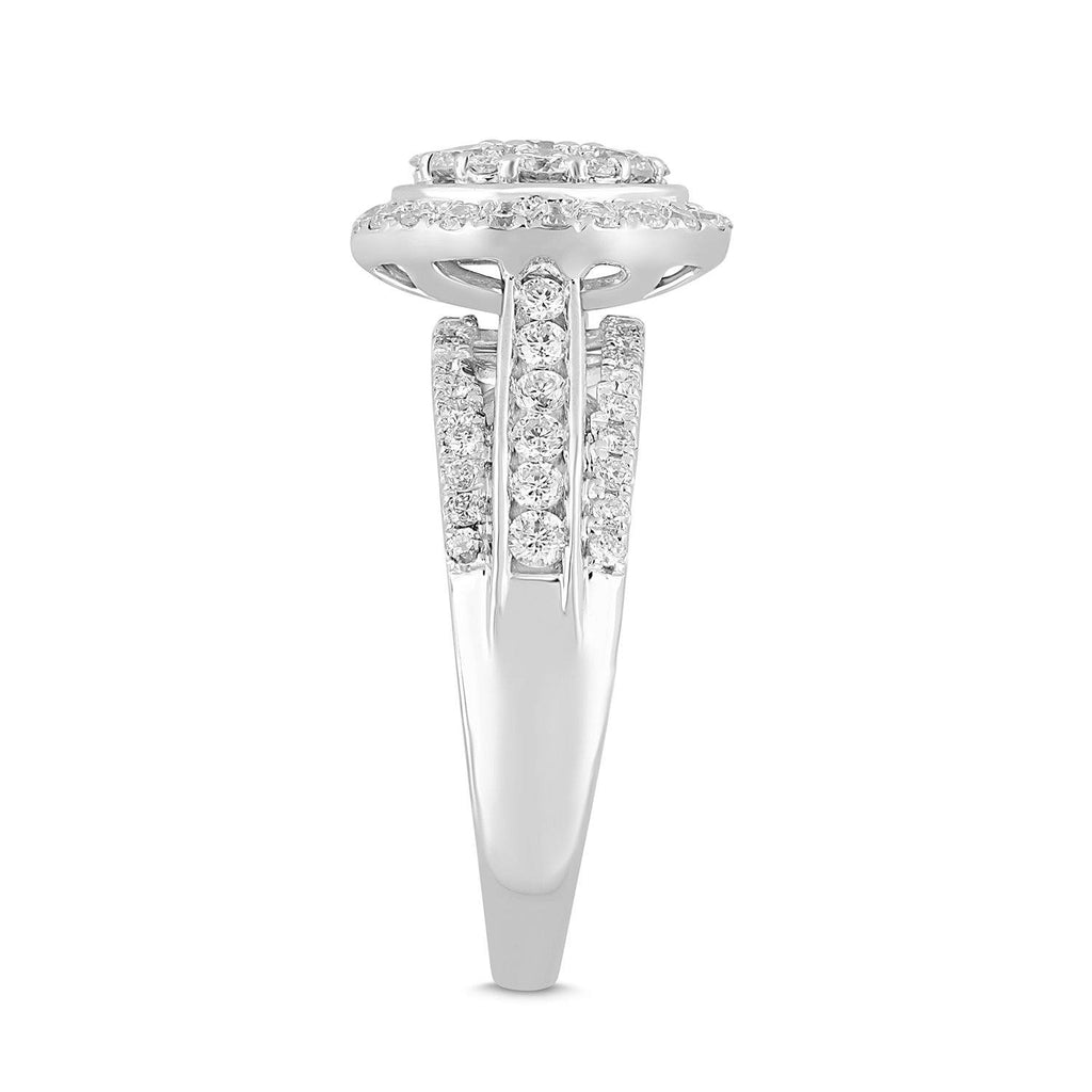Meera Brilliant Halo & Baguette Ring with 1.00ct of Laboratory Grown Diamonds in 9ct White Gold Rings Bevilles