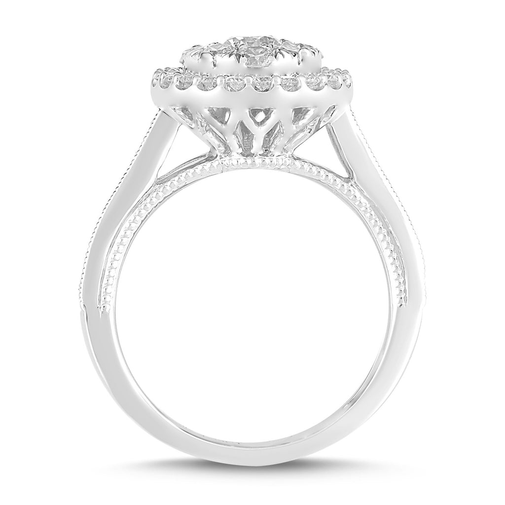 Meera Solitaire Halo Ring with 1.25ct of Laboratory Grown Diamonds in 9ct White Gold