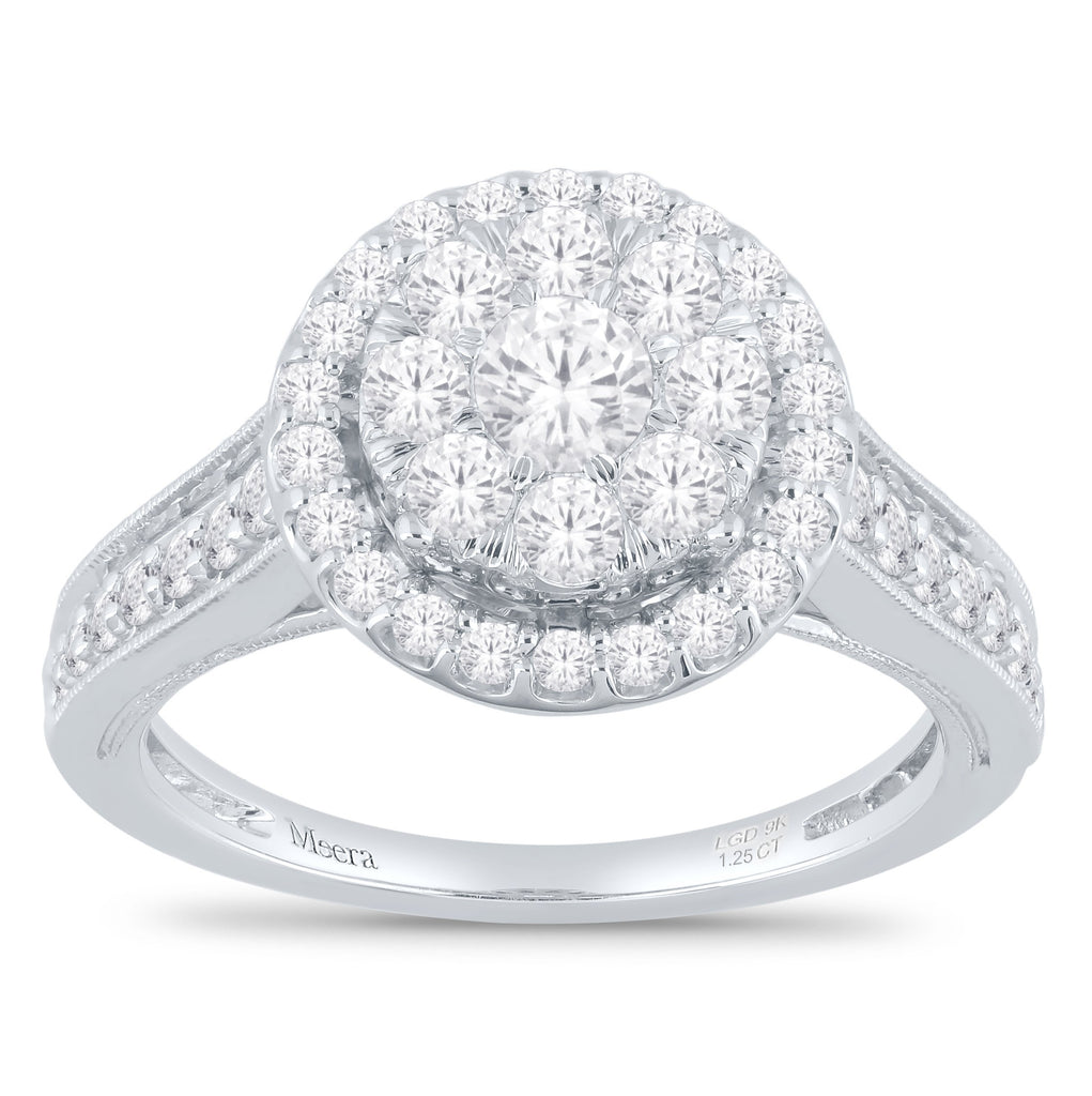 Meera Halo Ring with 1.25ct of Laboratory Grown Diamonds in 9ct White Gold Rings Bevilles