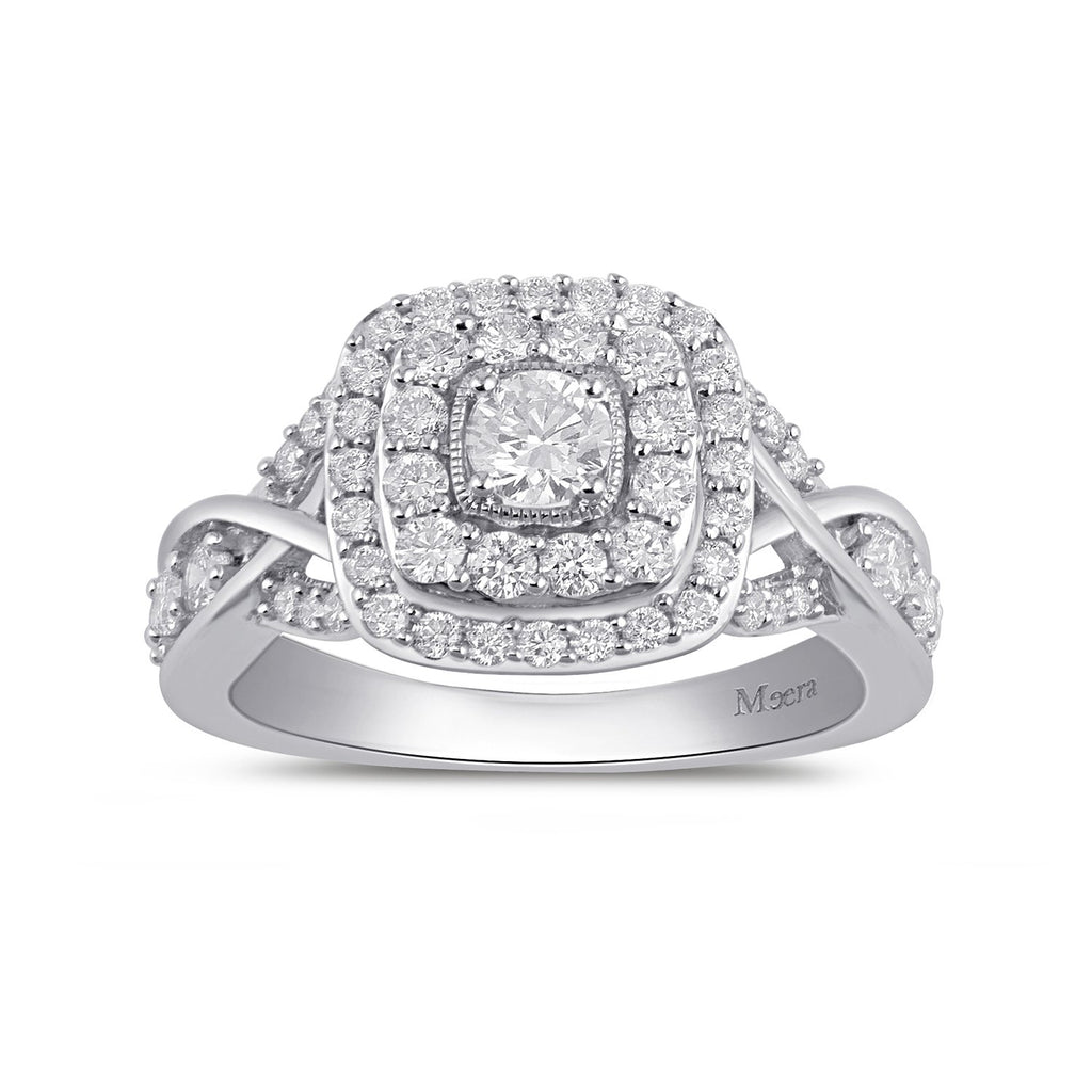 Meera Double Halo Square Ring with 1.00ct of Laboratory Grown Diamonds in 9ct White Gold Rings Bevilles