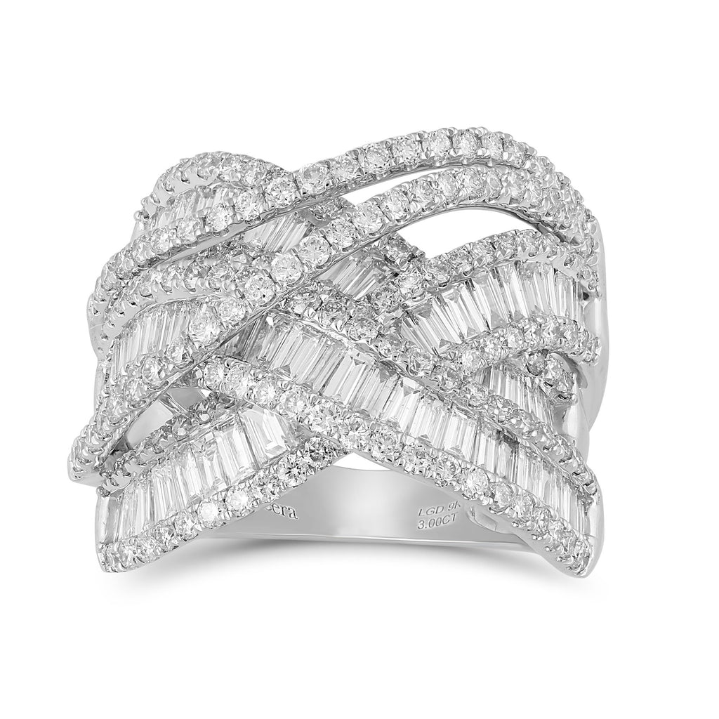 Meera Baguette Ring with 3.00ct of Laboratory Grown Diamonds in 9ct White Gold Rings Bevilles