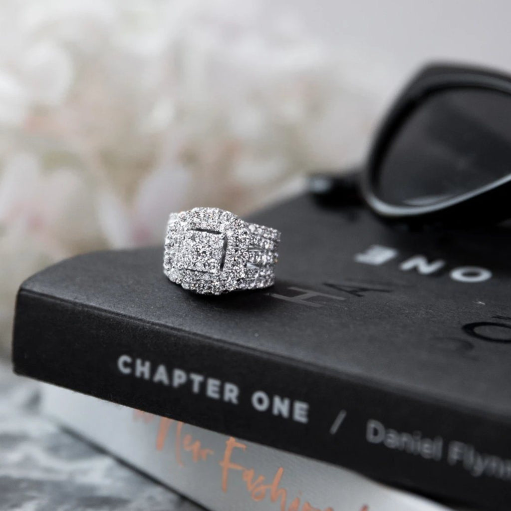 Meera Brilliant Halo Ring with 4.50ct of Laboratory Grown Diamonds in 9ct White Gold Rings Bevilles