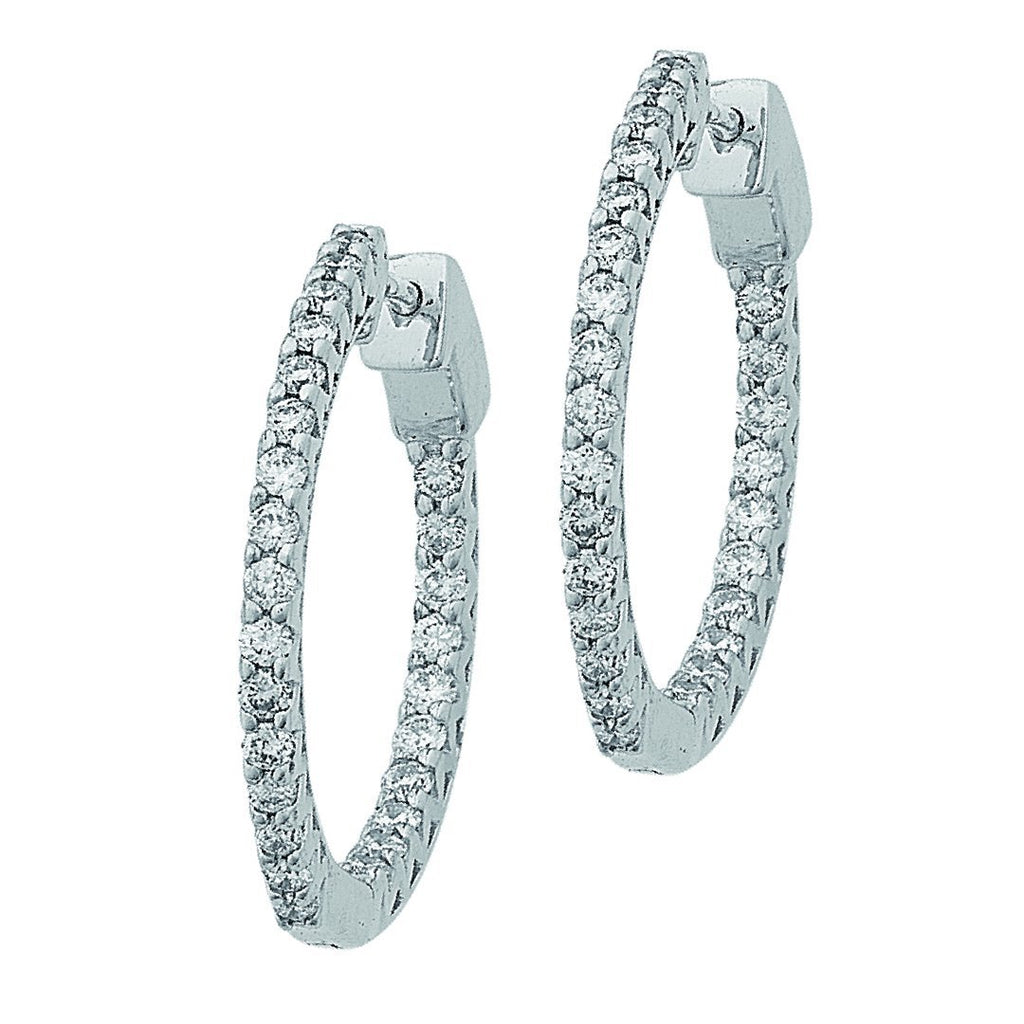 Meera Brilliant Hoop Earrings with 1/2ct of Laboratory Grown Diamonds in 9ct White Gold Earrings Bevilles
