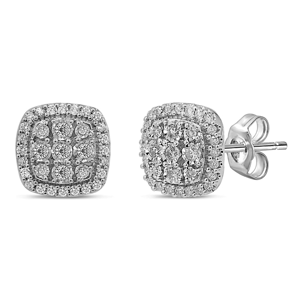 Halo Stud Earrings with 1.00ct of Laboratory Grown Diamonds in 9ct White Gold Earrings Bevilles