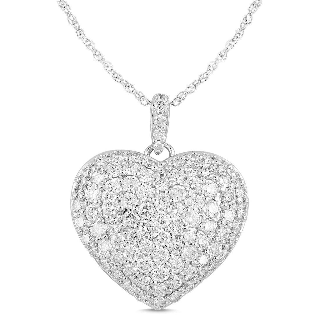 Meera Pave Heart Necklace with 2.00ct of Laboratory Grown Diamonds in 9ct White Gold