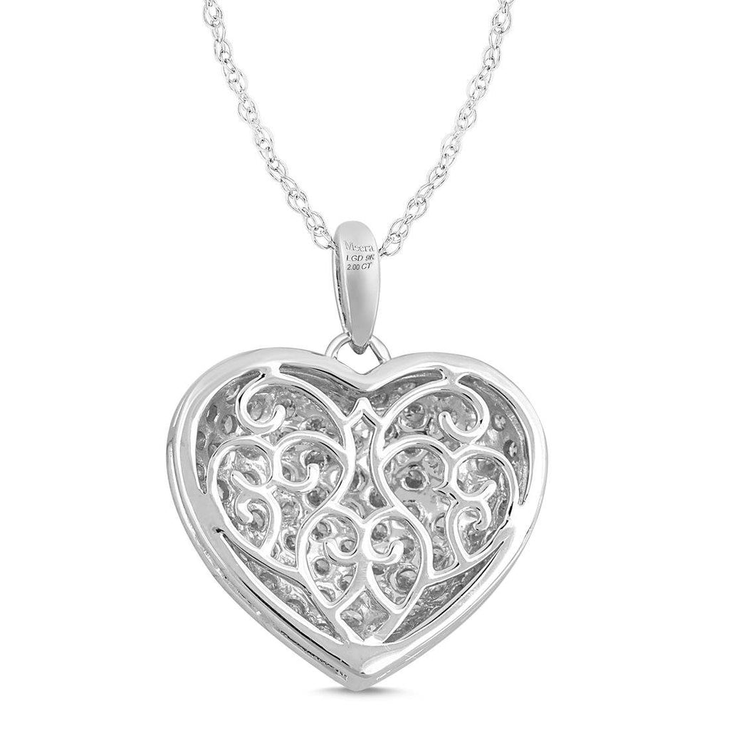 Meera Pave Heart Necklace with 2.00ct of Laboratory Grown Diamonds in 9ct White Gold Necklaces Bevilles