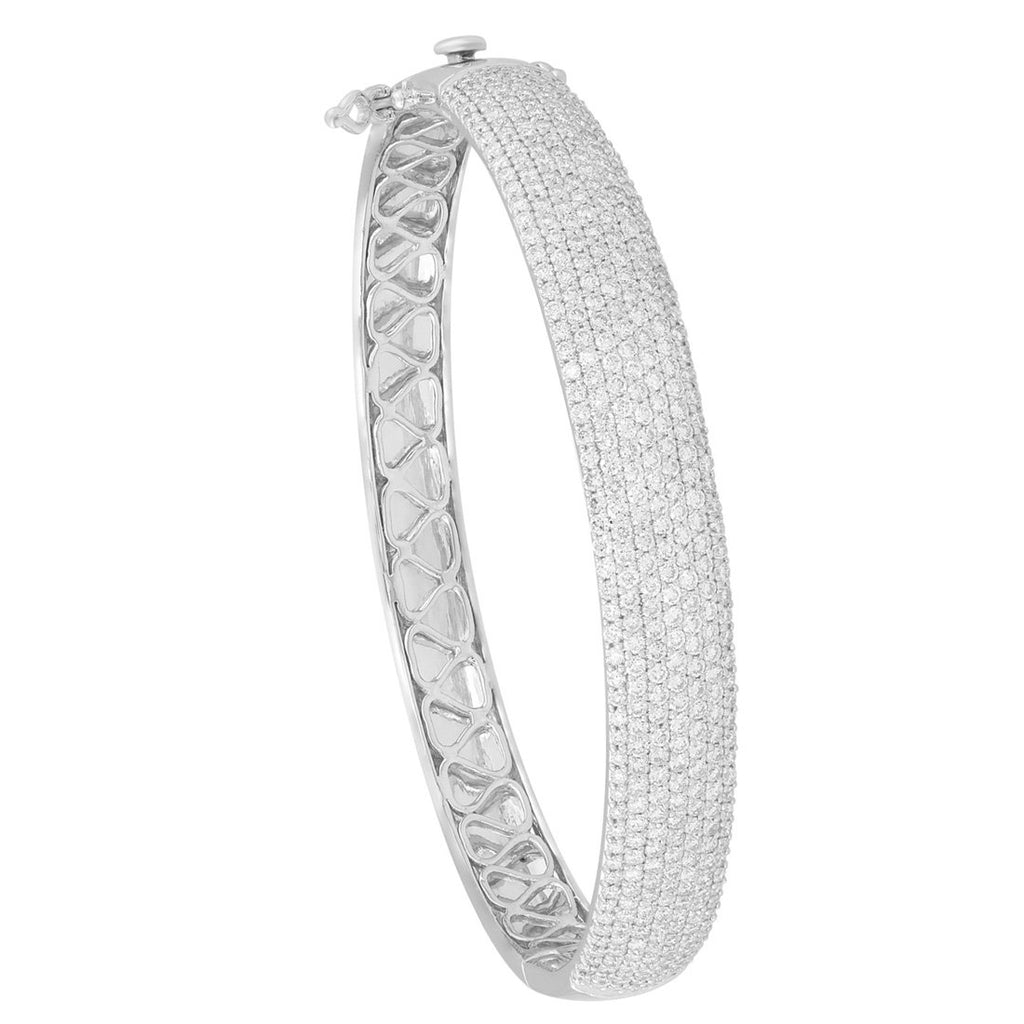 Meera Pave Bangle with 4.00ct of Laboratory Grown Diamonds in 9ct White Gold Bracelets Bevilles
