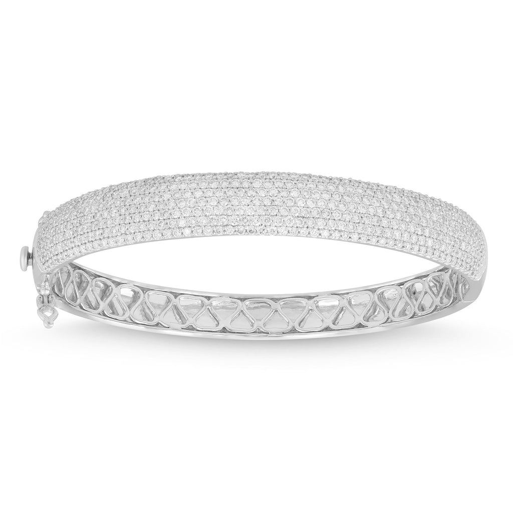 Meera Pave Bangle with 4.00ct of Laboratory Grown Diamonds in 9ct White Gold
