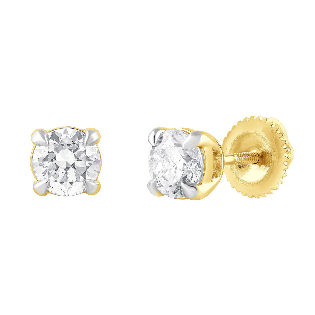 Meera 1.00ct Solitaire Laboratory Grown Diamond Stud Earrings in 18ct Yellow Gold Earrings Bevilles