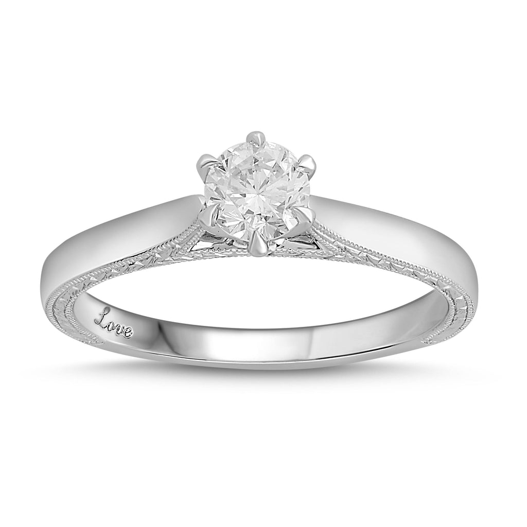 Facets of Love Signature Solitaire Ring with 0.40ct of Diamonds with 18ct White Gold