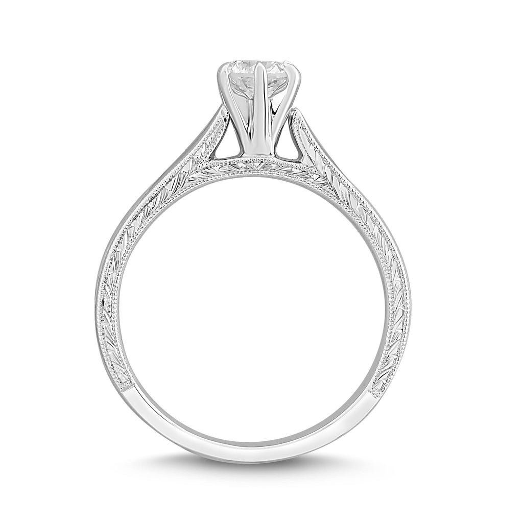 Facets of Love Signature Solitaire Ring with 0.40ct Diamond in 18ct White Gold Rings Bevilles