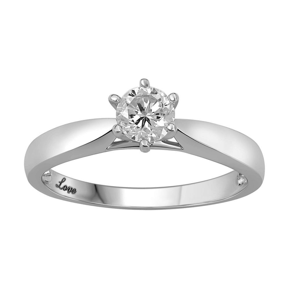 Facets of Love 1/2ct Solitaire 6 Claw 18ct White Gold Tapered Ring Rings Bevilles