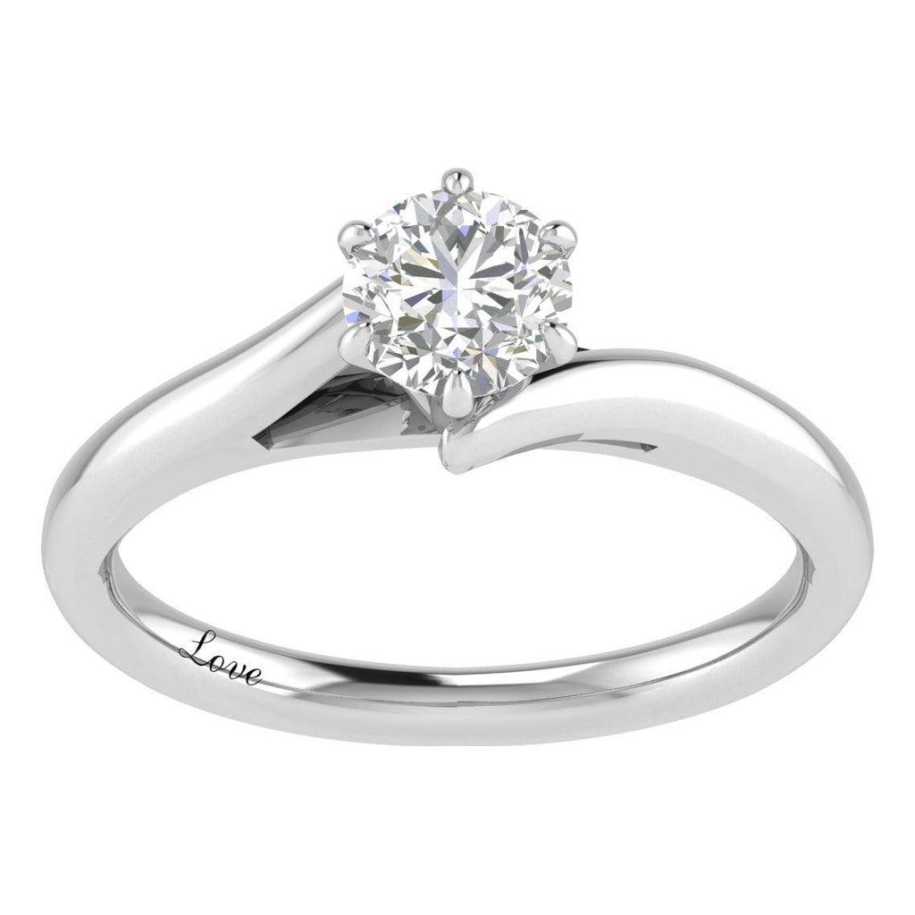 Facets of Love Solitaire Ring with 0.60ct Diamond in 18ct White Gold Rings Bevilles