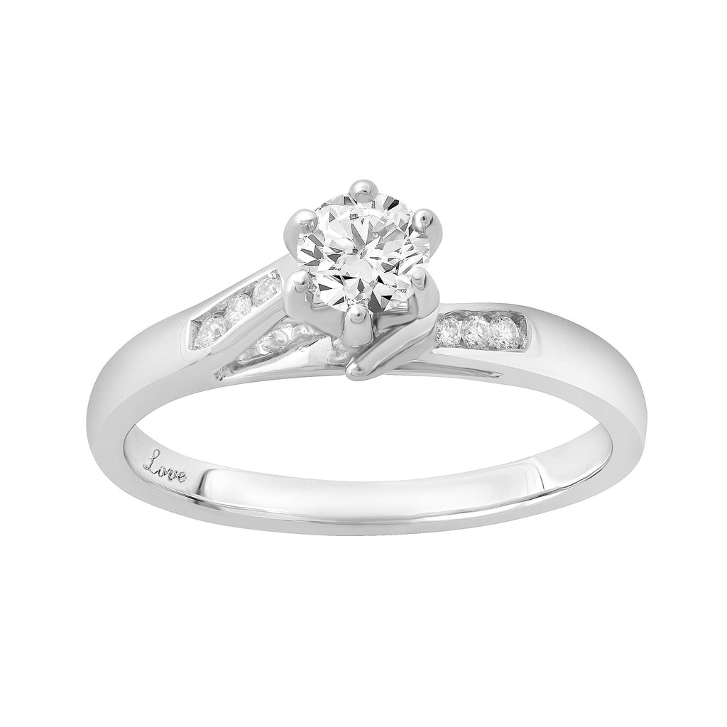 Facets of Love 1/5ct Diamond Solitaire Ring in 18ct White Gold Rings Bevilles
