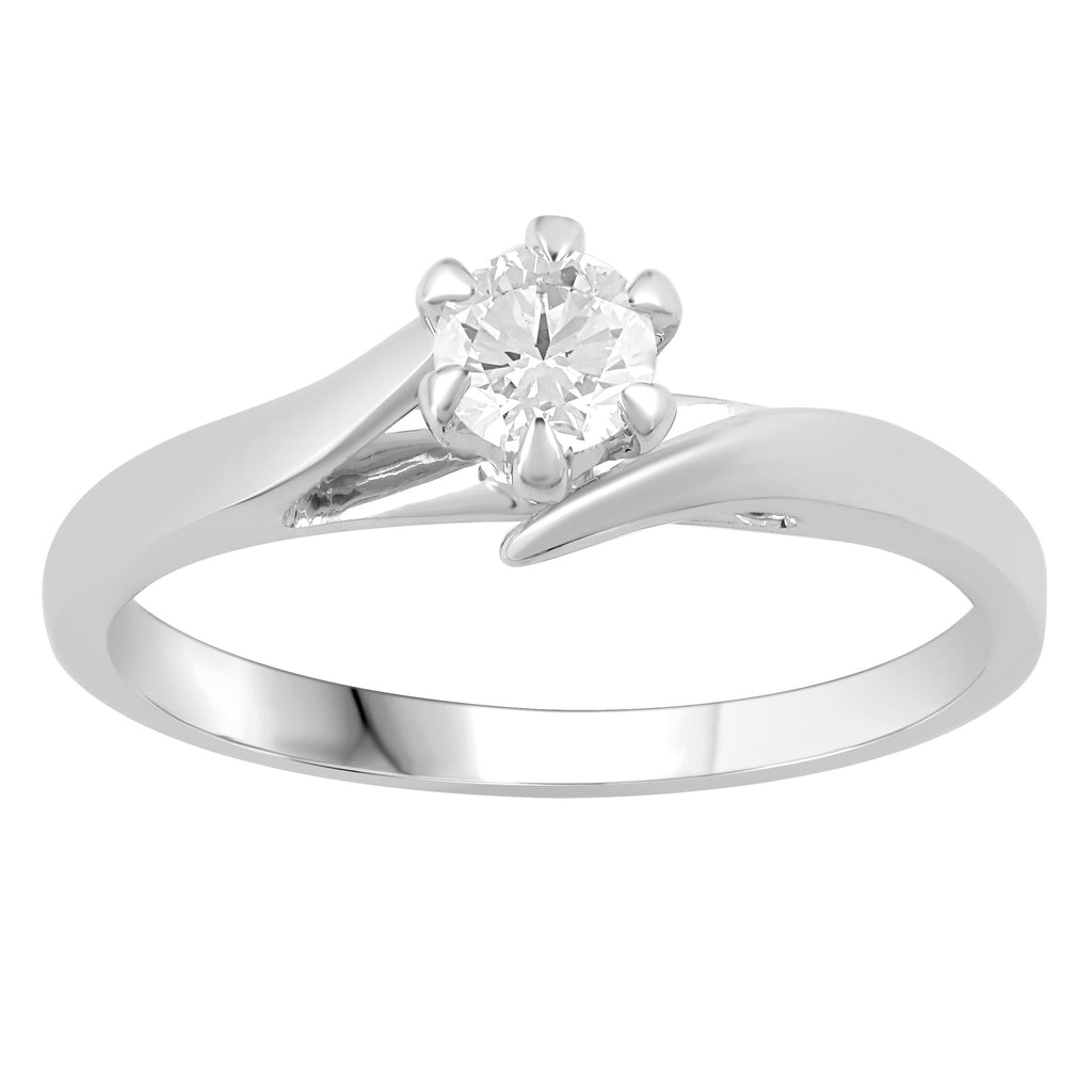 Facets of Love 0.30ct Solitaire 6 Claw 18ct White Gold Sweep Shoulder Ring Rings Bevilles