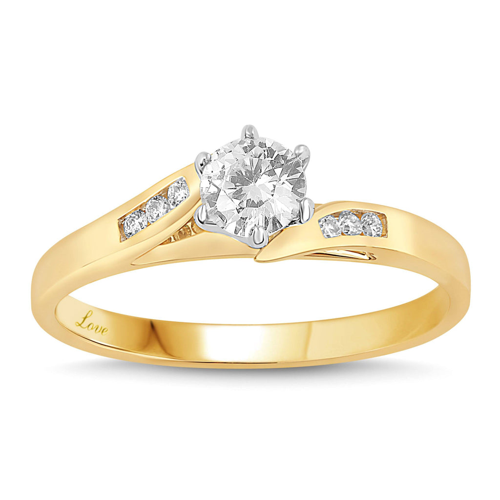 Facets of Love Solitaire Ring with 1/2ct of Diamonds in 18ct Yellow Gold Rings Bevilles