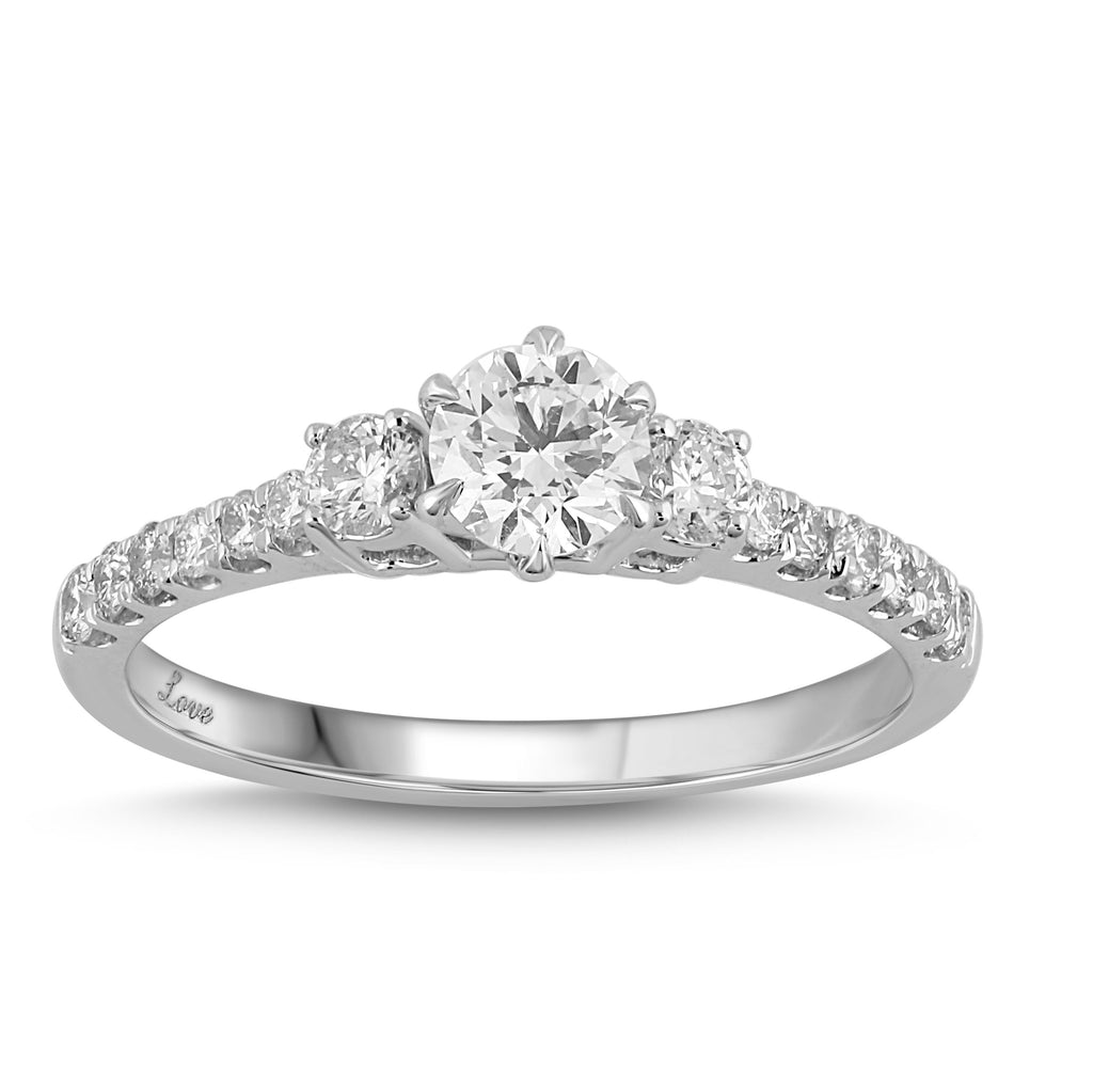 Facets of Love Solitaire Brilliant Claw Ring with 0.70ct of Diamonds in 18ct White Gold Rings Bevilles