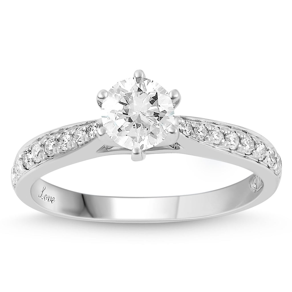 Facets of Love Solitaire Ring with 3/4ct of Diamonds in 18ct White Gold Rings Bevilles