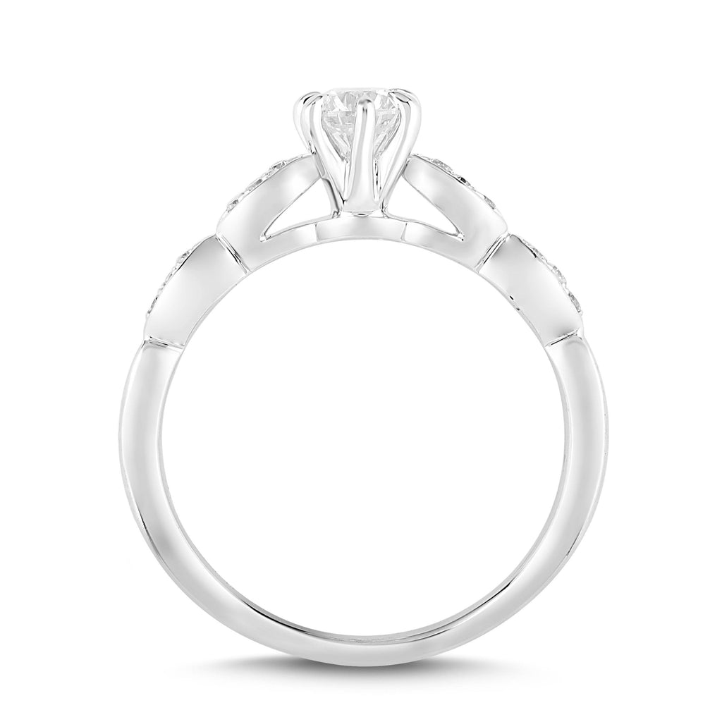 Facets of Love Antique Leaf Ring with 0.40ct of Diamonds in 18ct White Gold