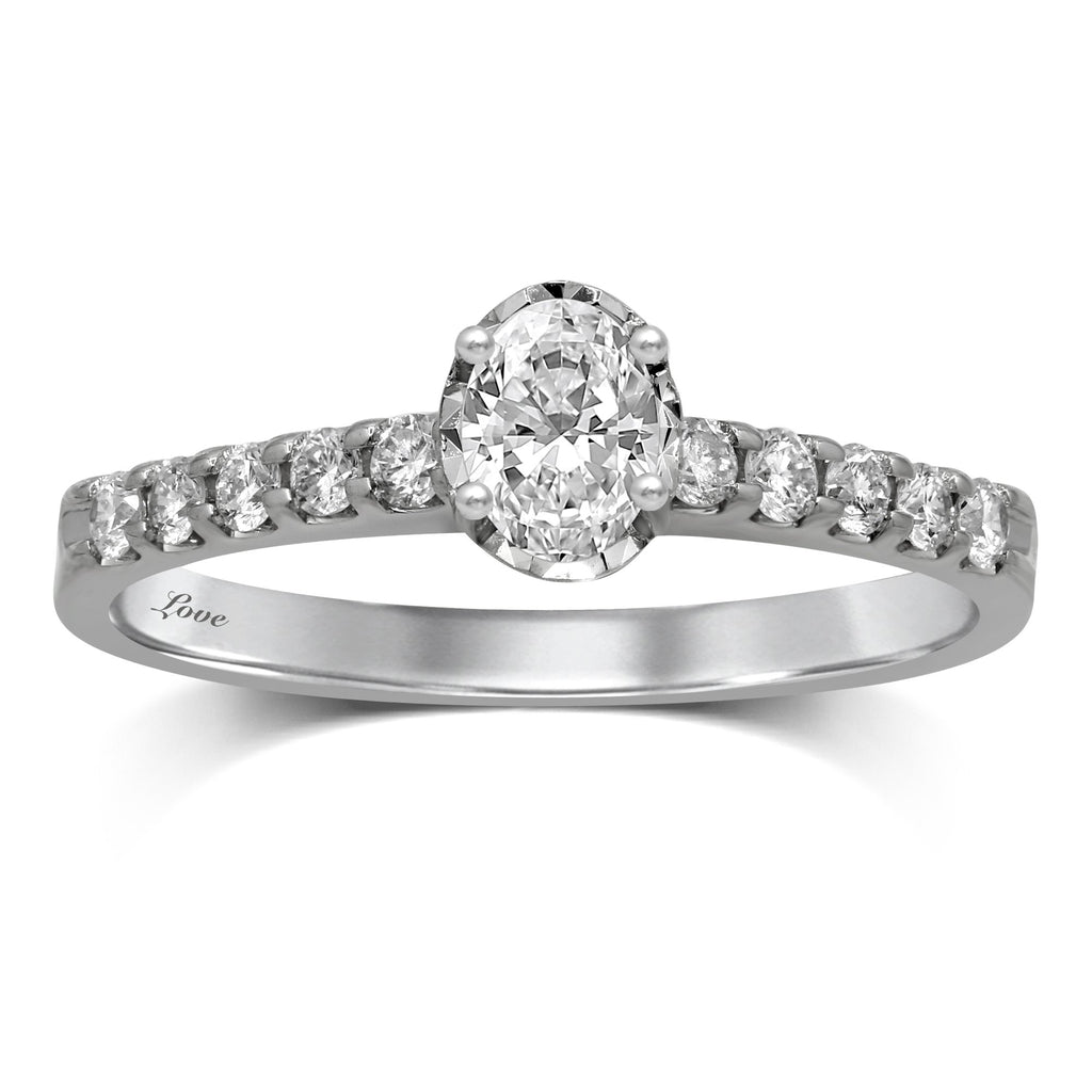 Facets of Love Solitaire Ring with 1/2ct of Diamonds in 18ct White Gold Rings Bevilles