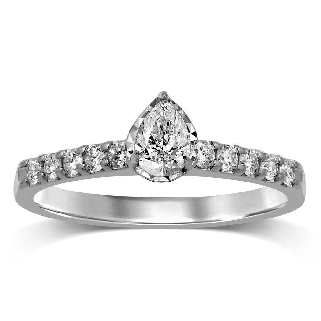 Facets of Love Pear Solitaire Brilliant Claw Ring with 1/2ct of Diamonds in 18ct White Gold Rings Bevilles