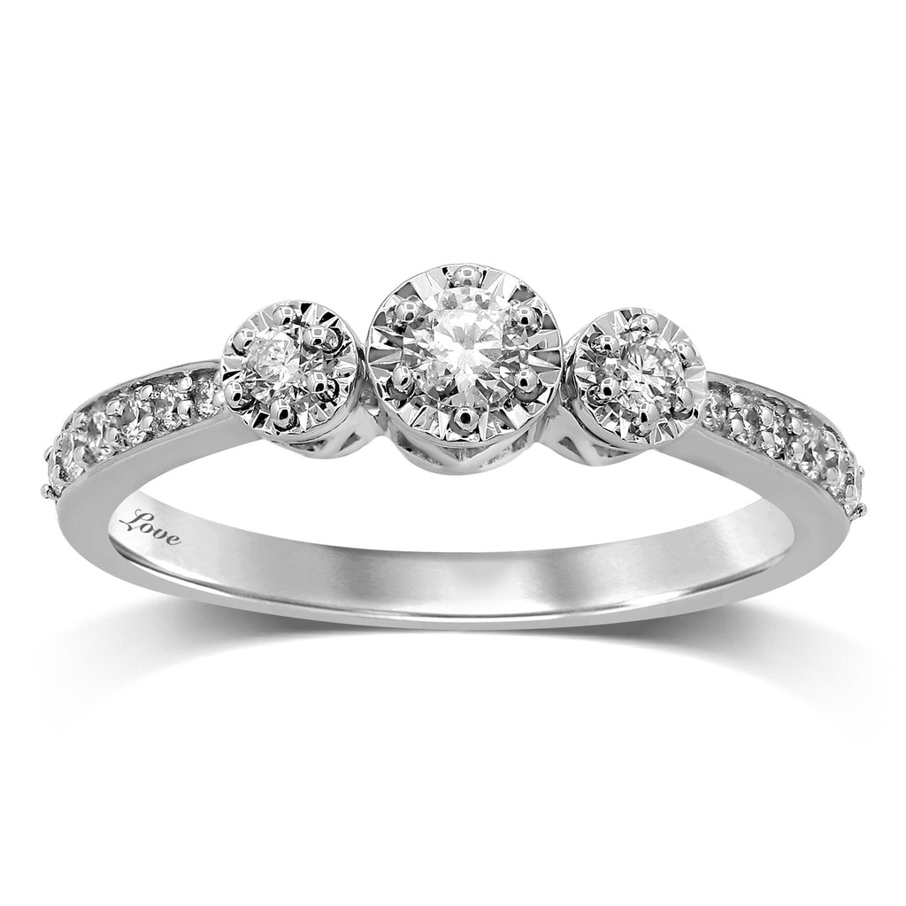 Facets of Love Brilliant Halo Set Ring with 1/3ct of Diamonds with 18ct White Gold Rings Bevilles