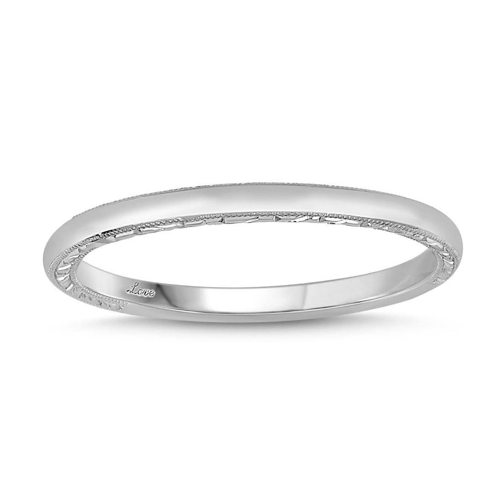 Facets of Love Eternity Ring with Profile Engraving in 18ct White Gold Rings Bevilles