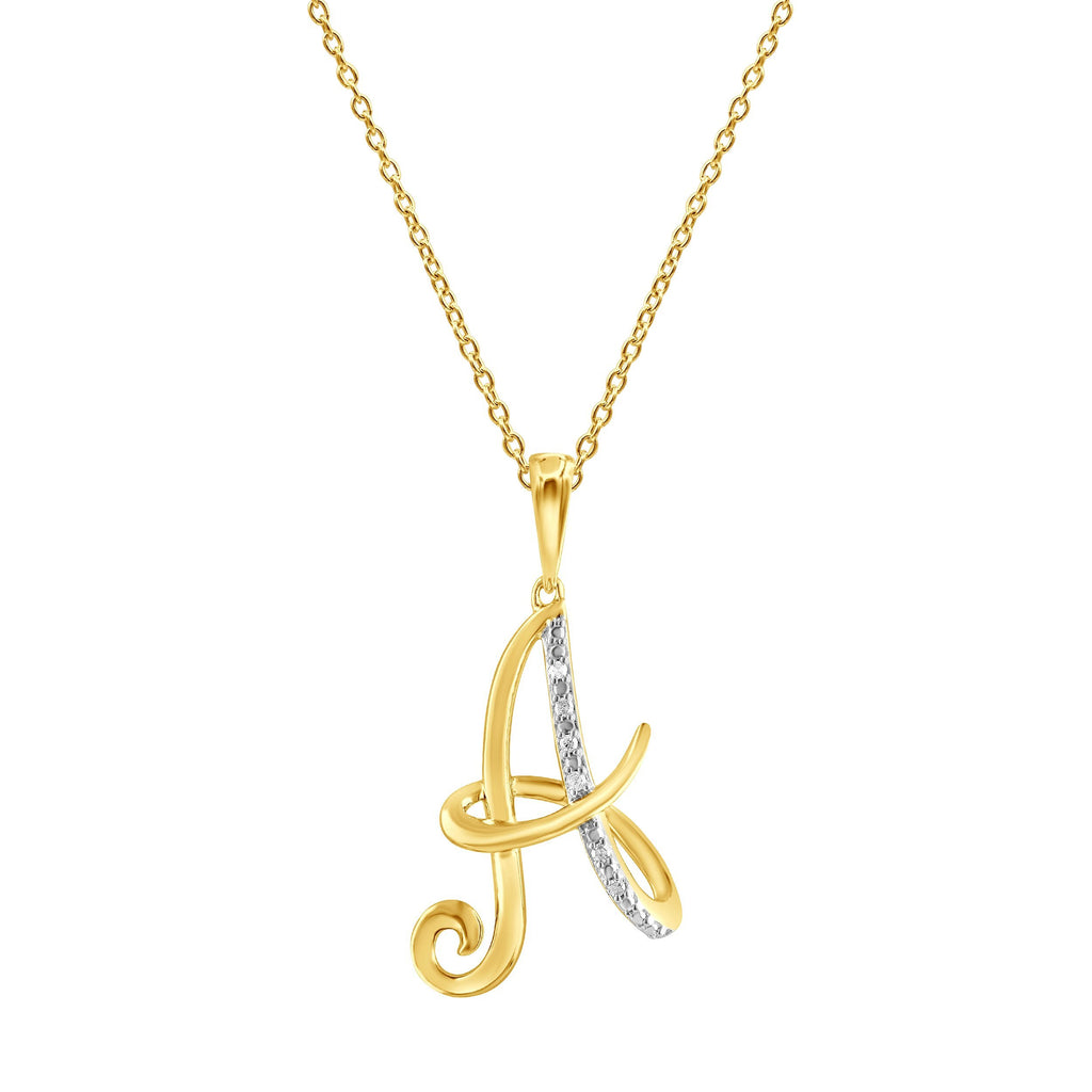 Diamond Initial Pendants in 9ct Yellow Gold Necklaces Bevilles A