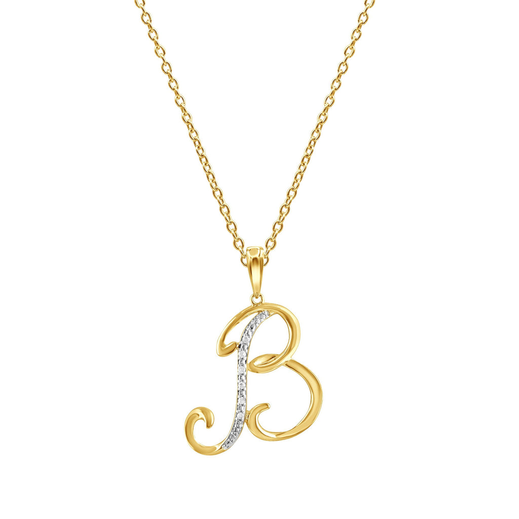 Diamond Initial Pendants in 9ct Yellow Gold Necklaces Bevilles B