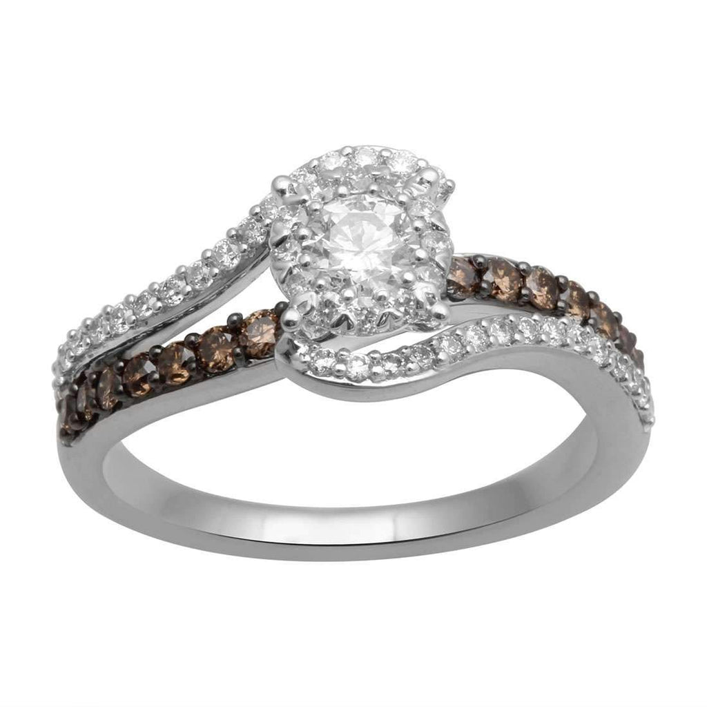 Crossover Ring with 0.88ct White and Cognac Diamonds in 9ct White Gold Rings Bevilles