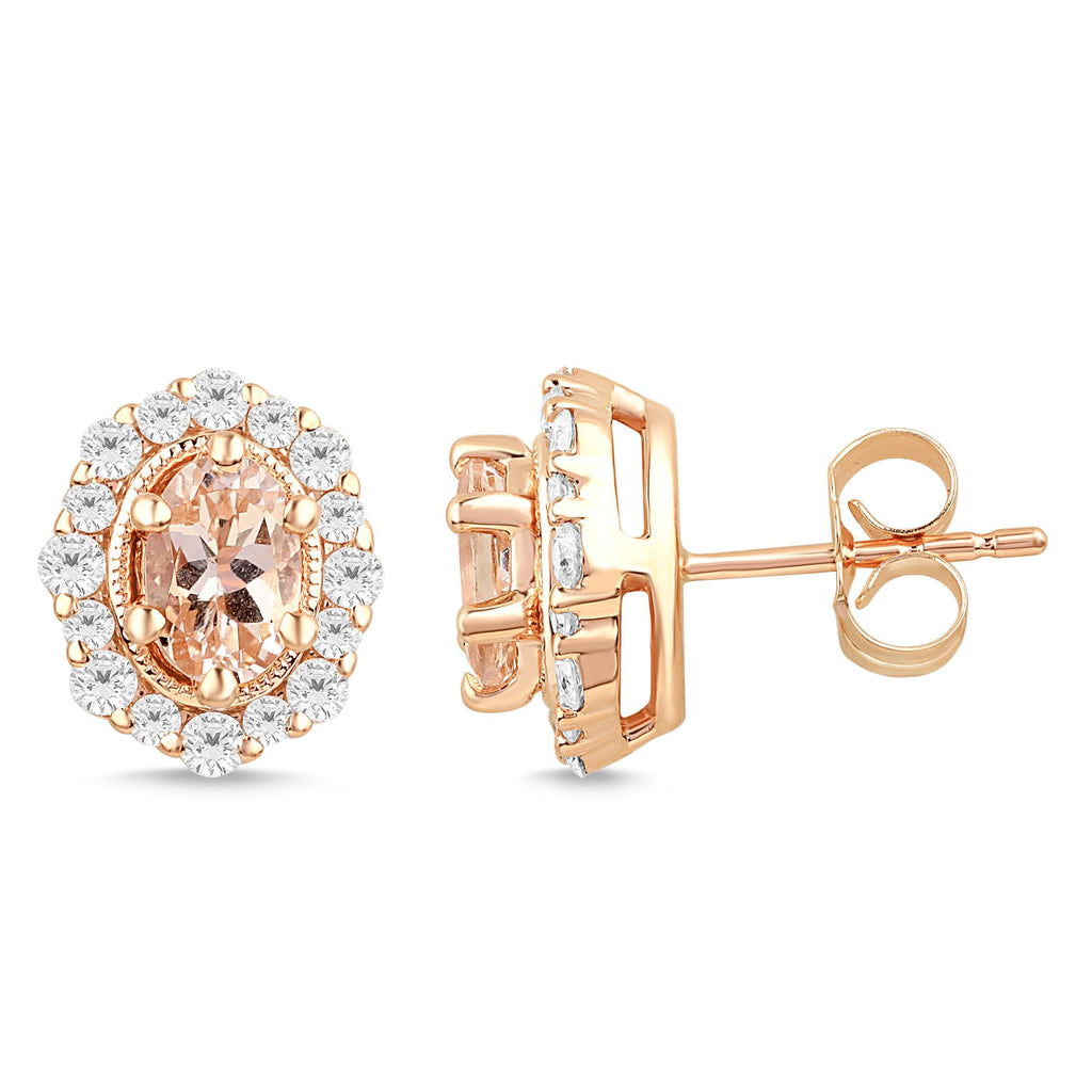 Morganite Stud Earrings with 1/2ct of Diamonds in 9ct Rose Gold Earrings Bevilles