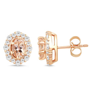 Morganite Stud Earrings with 1/2ct of Diamonds in 9ct Rose Gold