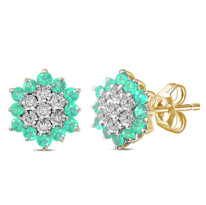 9ct Yellow Gold Flower Stud Earring with Diamonds and Emerald Precious Stones