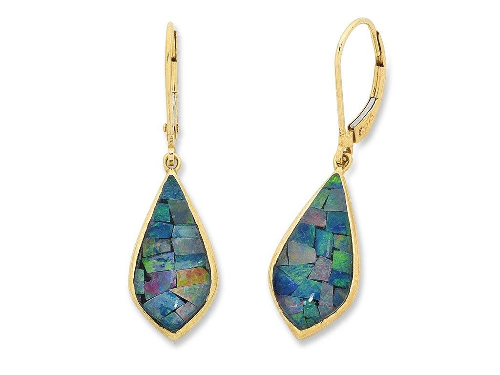 9ct Yellow Gold Mosaic Triplet Opal Earrings Earrings Bevilles