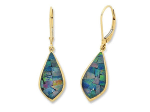 9ct Yellow Gold Mosaic Triplet Opal Earrings