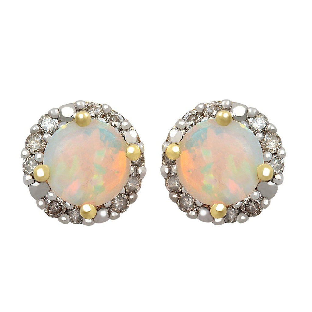 9ct Yellow Gold 0.10ct Created Opal and Diamond Earrings Earrings Bevilles