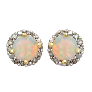 9ct Yellow Gold 0.10ct Created Opal and Diamond Earrings