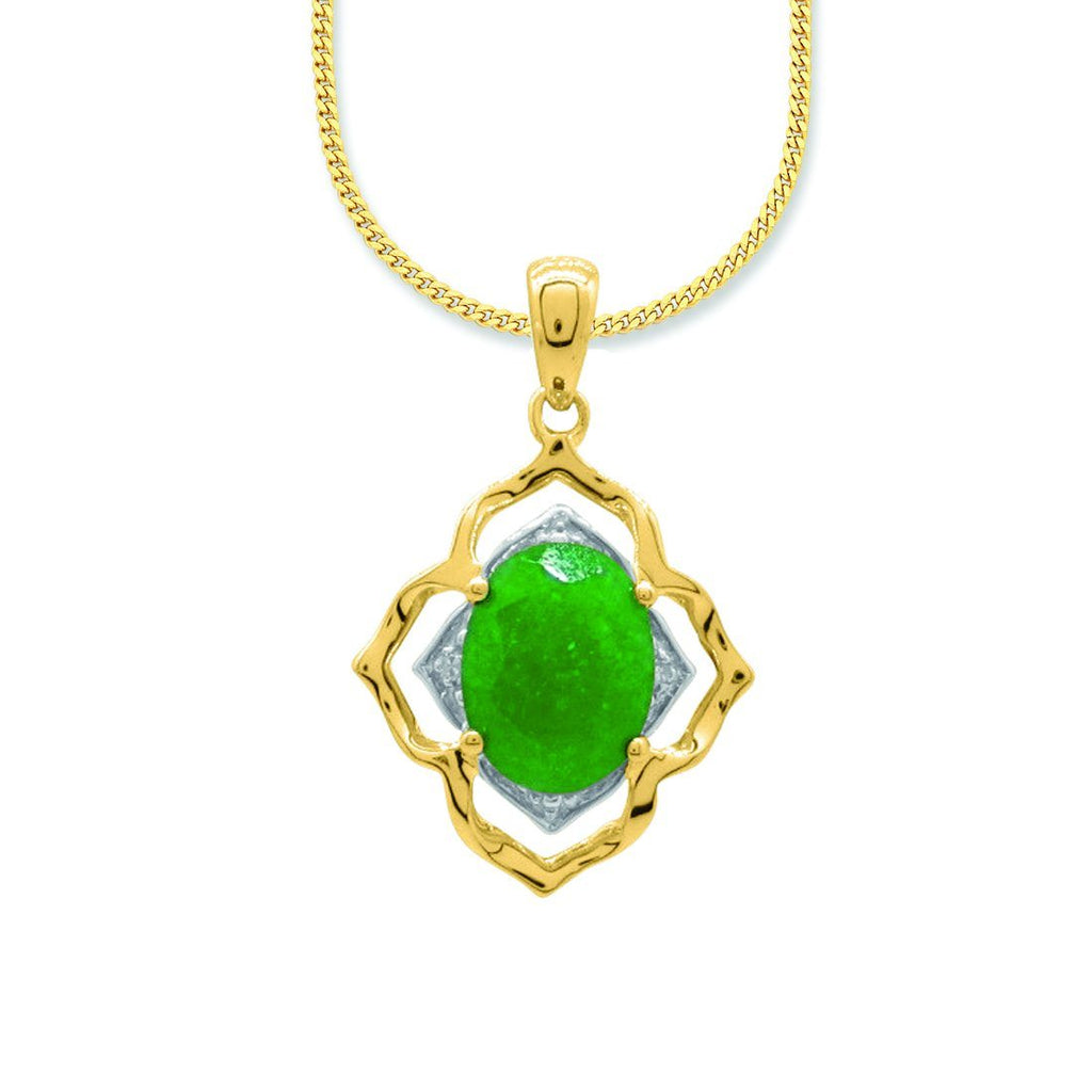 Oval Green Jade & Diamond Necklace in 9ct Yellow Gold Necklaces Bevilles