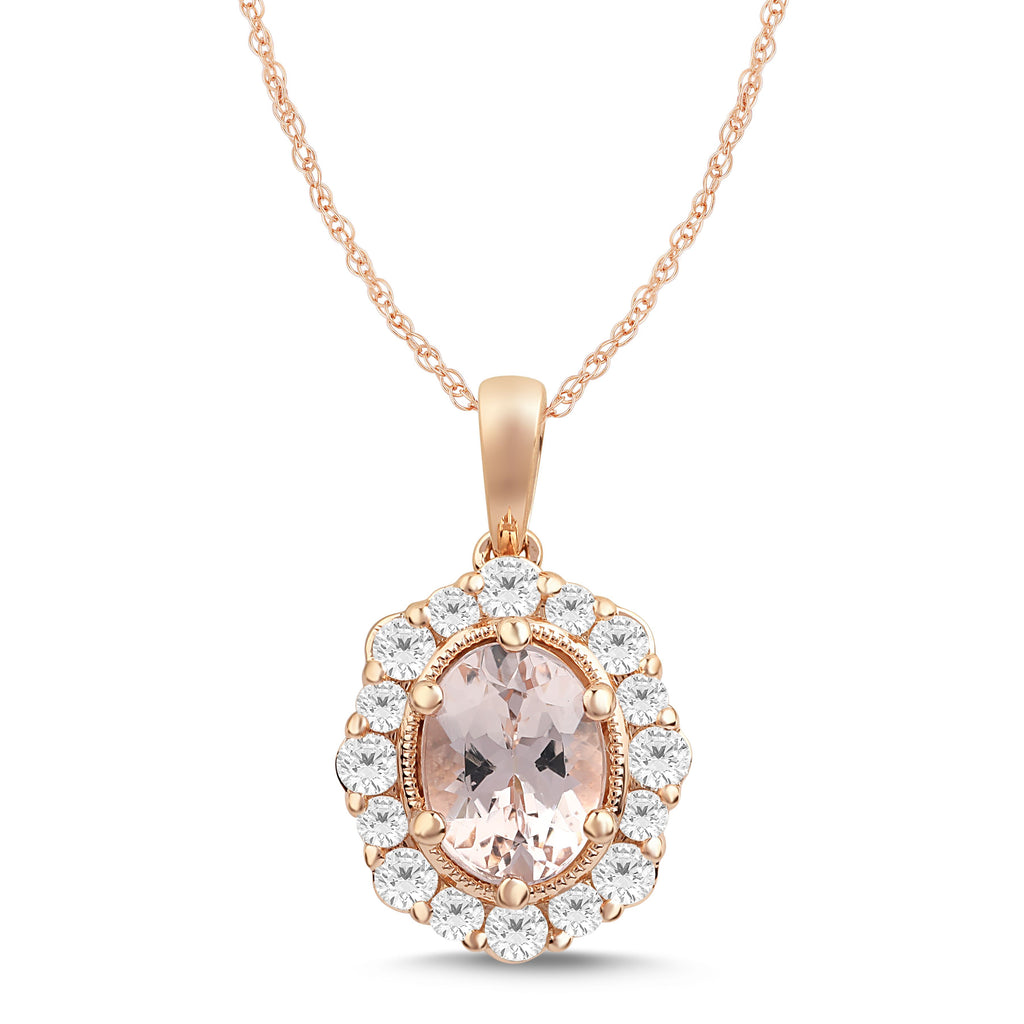 Morganite Necklace with 1/2ct of Diamonds in 9ct Rose Gold Necklaces Bevilles