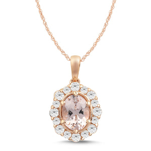 Morganite Necklace with 1/2ct of Diamonds in 9ct Rose Gold