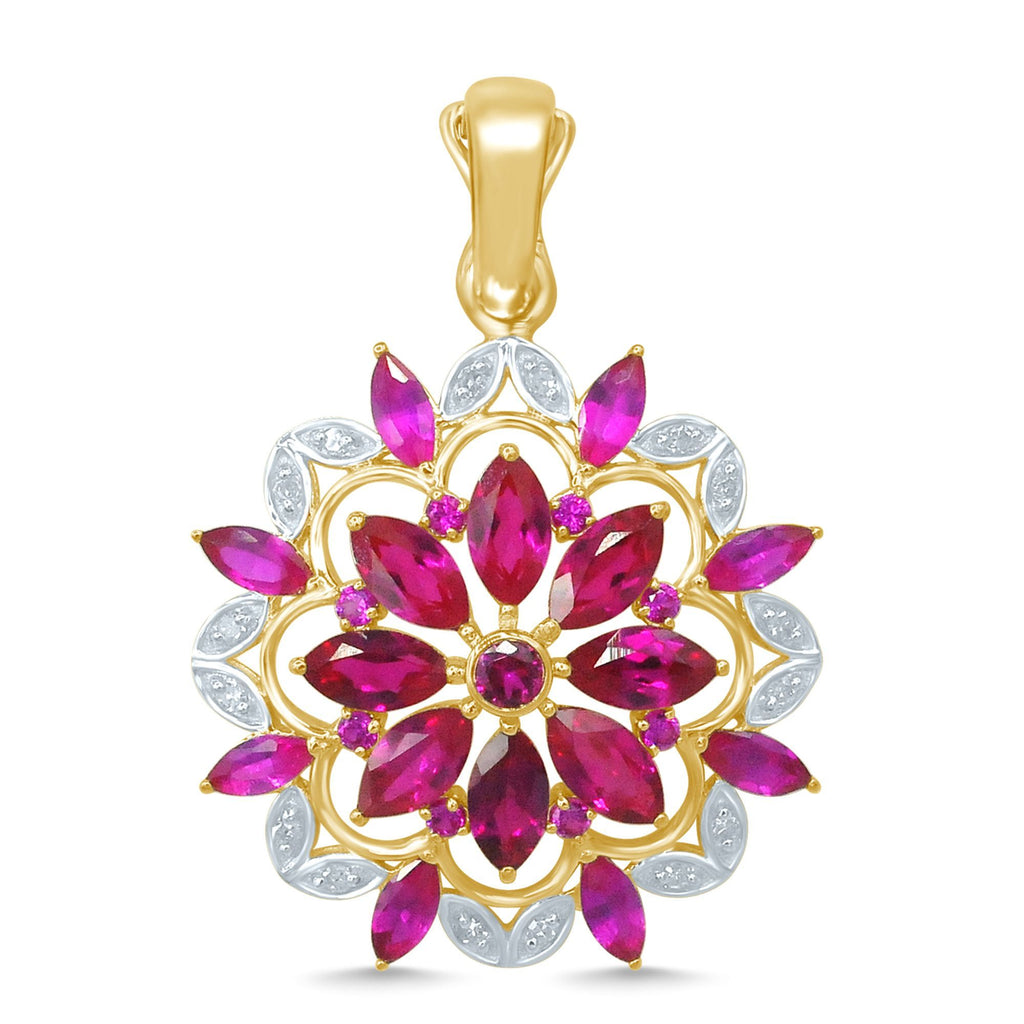 9ct Yellow Gold Marquise Created Ruby Alternative 0.10ct Marquise Diamond Flower Pendant Necklaces Bevilles