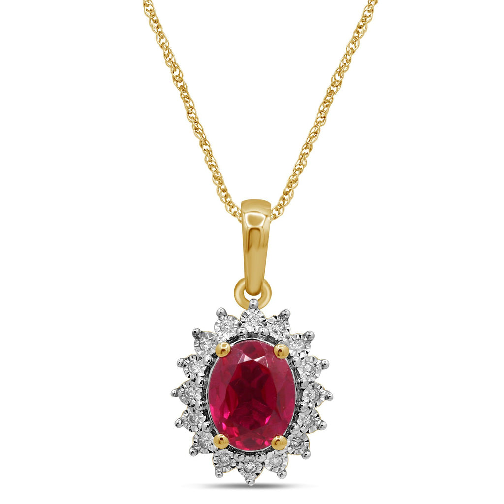 Created Ruby and Diamond Necklace in 9ct Yellow Gold Necklaces Bevilles