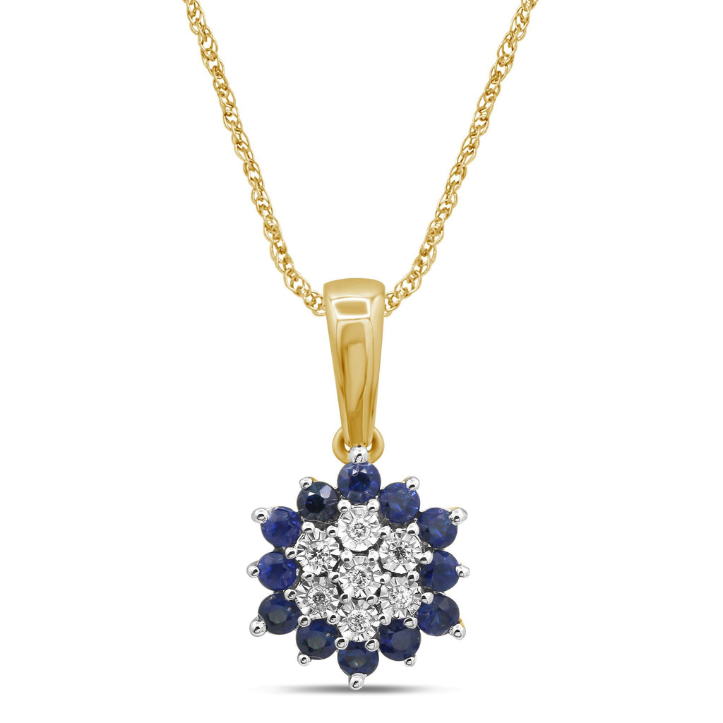 Diamond Set Sapphire Necklace in 9ct Yellow Gold Necklaces Bevilles