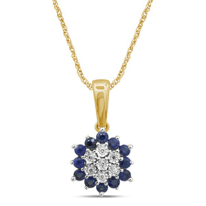 Diamond Set Sapphire Necklace in 9ct Yellow Gold