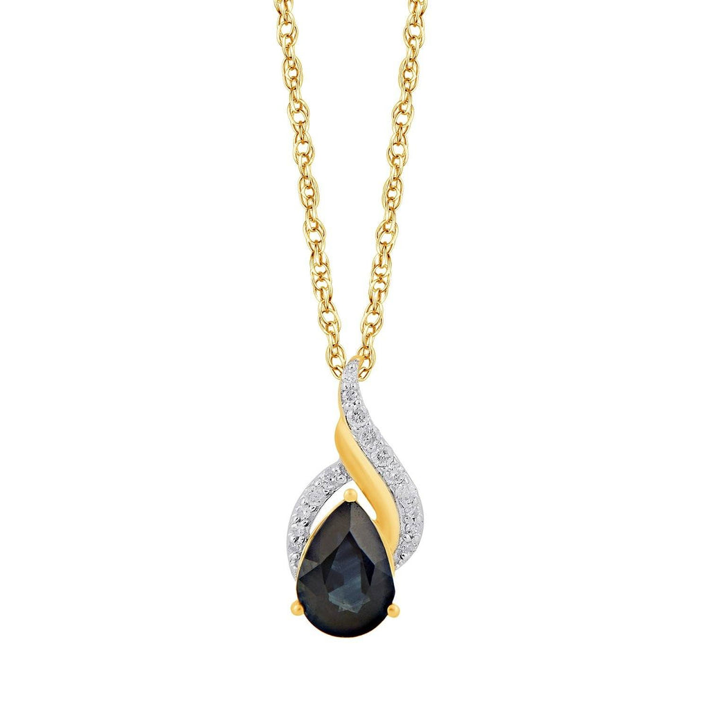 Diamond Set Pear Sapphire Swirl Necklace in 9ct Yellow Gold Necklaces Bevilles