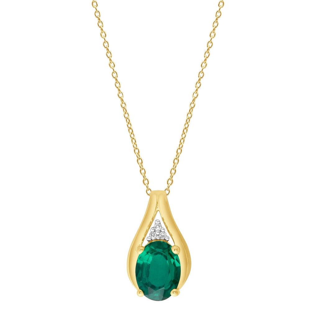 9ct Yellow Gold Diamond and Created Emerald Necklace Necklaces Bevilles