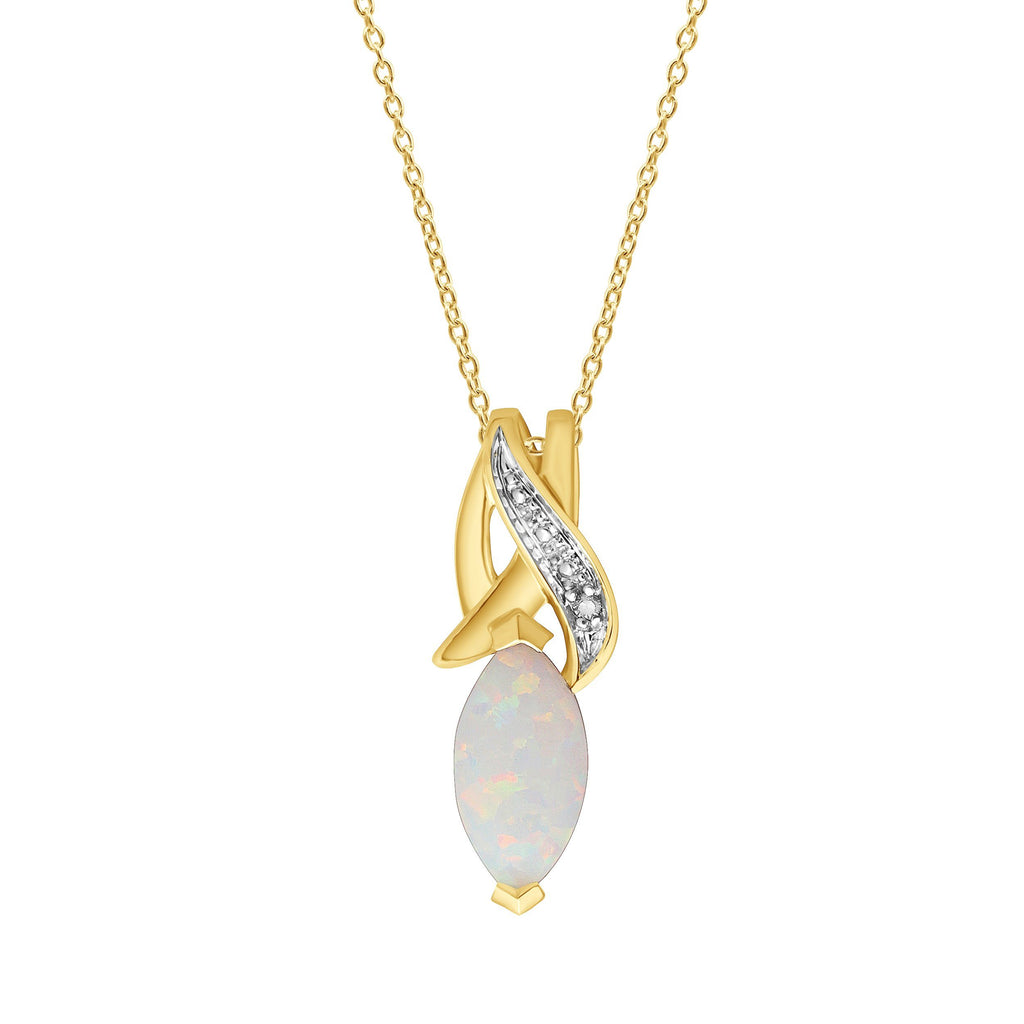 Marquise Shape Created Opal Necklace with Diamonds in 9ct Yellow Gold Necklaces Bevilles