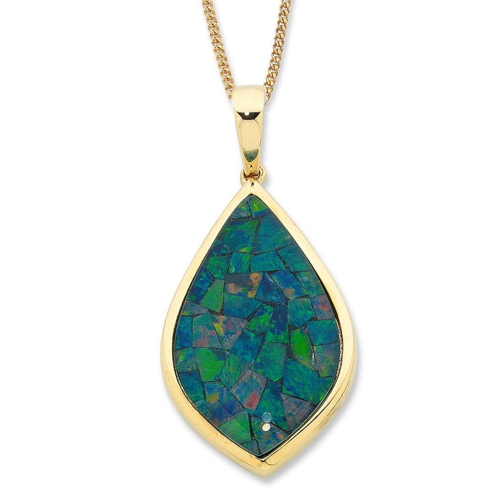 9ct Yellow Gold Mosaic Triplet Opal Necklace Necklaces Bevilles