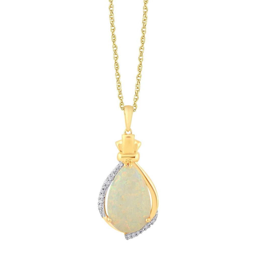 Diamond Set Created Opal Necklace in 9ct Yellow Gold Necklaces Bevilles